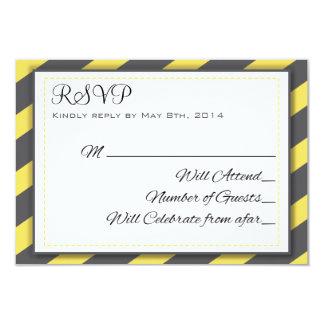 Gray and Yellow Stripes Elegant RSVP 9 Cm X 13 Cm Invitation Card