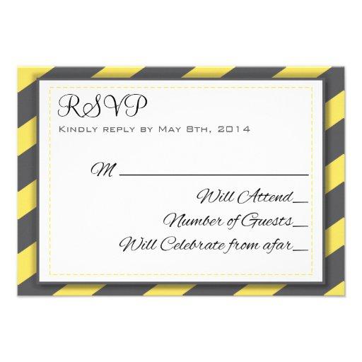 Gray and Yellow Stripes Elegant RSVP Custom Invitation