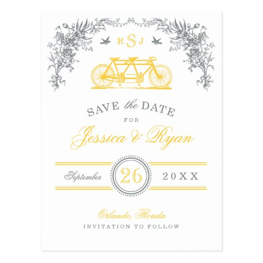 Gray and Yellow Vintage Bicycle Save the Date Post Cards