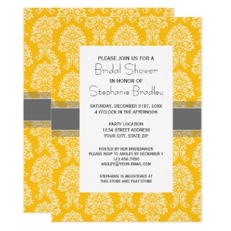 Gray and Yellow Vintage Damask Pattern Card