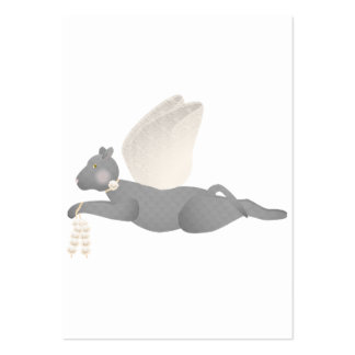 Gray Angel Cat With Orange Wings Business Card Template