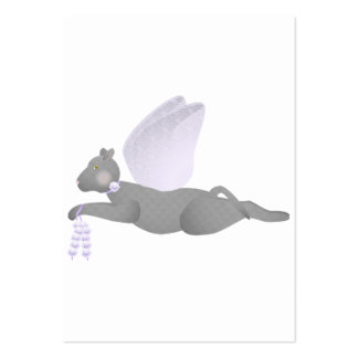 Gray Angel Cat With Purple Wings Business Card