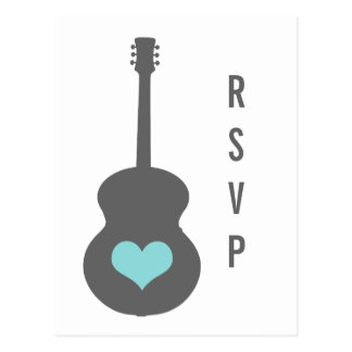 Gray/Aqua Guitar Heart RSVP Postcard