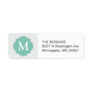 Gray & Aqua Modern Chevron Custom Monogram Return Address Label