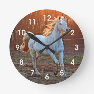 Gray Arabian Horse Round Clock