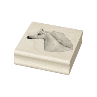 Gray Arabian Horse Rubber Stamp