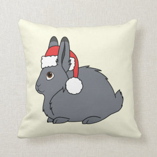 Gray Arctic Hare with Red Santa Hat Cushion