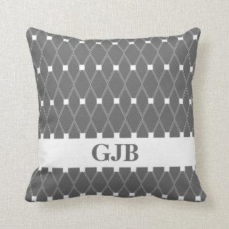 Gray Argyle Lattice with monogram Throw Pillow