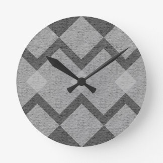 gray argyle round clock