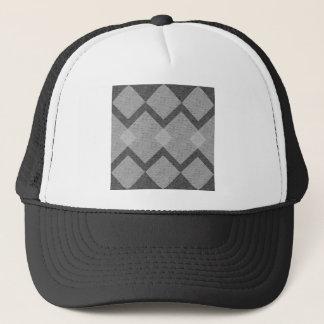 gray argyle trucker hat