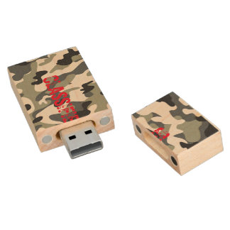 Gray Army Navy Air Force Camouflage USB Drive Gift Wood USB 2.0 Flash Drive