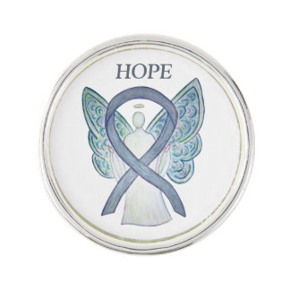 Gray Awareness Ribbon Angel Custom Lapel Pin