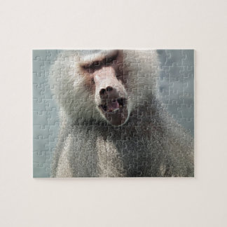 Gray Baboon looking at you with his mouth open Jigsaw Puzzle