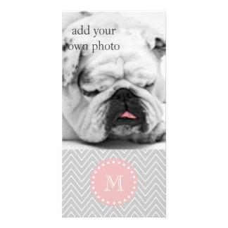 Gray Baby Pink Modern Chevron Custom Monogram Customised Photo Card