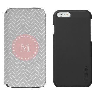 Gray Baby Pink Modern Chevron Custom Monogram Incipio Watson™ iPhone 6 Wallet Case