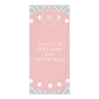 Gray & Baby Pink Modern Chevron Custom Monogram Personalised Rack Card