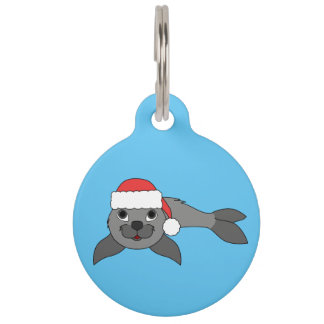Gray Baby Seal with Christmas Red Santa Hat Pet Tags