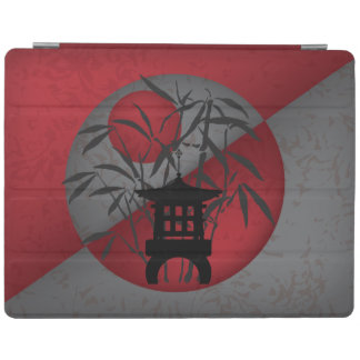 Gray bamboo red moon mini pagoda iPad cover