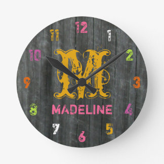 Gray Barnwood Inspired Colorful Personalized Clock