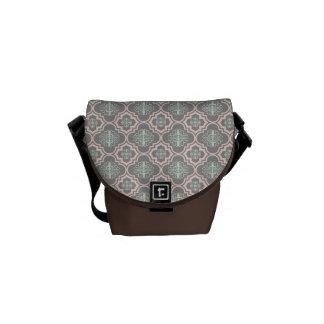 Gray Baroque Royal Damask Messenger Bags