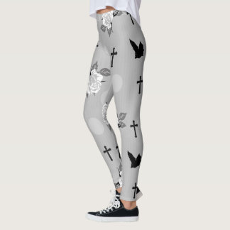 Gray Bats and Roses Goth Leggings