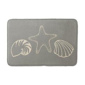 Gray Beach Seashell Nautical Bathroom Rug Bath Mat