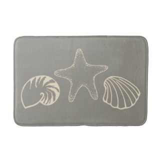 Gray Beach Seashell Nautical Bathroom Rug Bath Mat Bath Mats