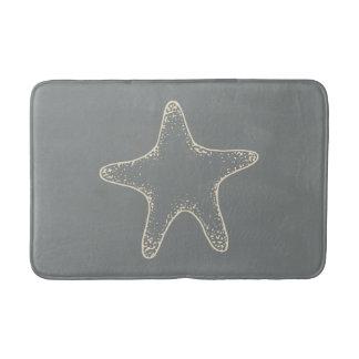 Gray Beach Starfish Nautical Bathroom Rug Bath Mat