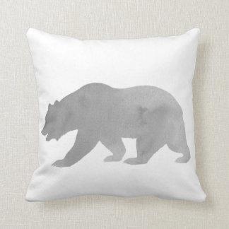 Gray Bear Watercolor Alaska Pillow Woodland Pillow