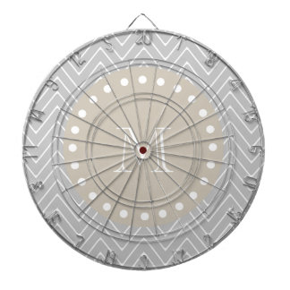 Gray & Beige Modern Chevron Custom Monogram Dart Board