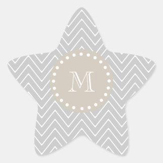 Gray Beige Modern Chevron Custom Monogram Sticker