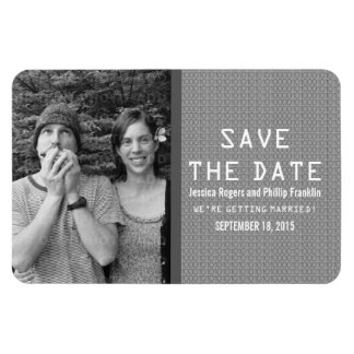 Gray Binary Code Photo Save the Date Magnet