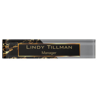 Gray, Black and Gold Marble Name Plate