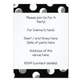 Gray, black and white dot pattern. 17 cm x 22 cm invitation card