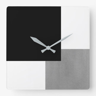Gray Black and White Geometric Square Wall Clock