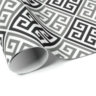 Gray Black And White Greek Key Wrapping Paper