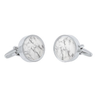 Gray Black And White Marble iIllustration Silver Finish Cuff Links