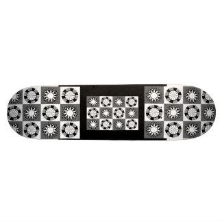 Gray , Black and White Motifs on Checkerboard 19.7 Cm Skateboard Deck