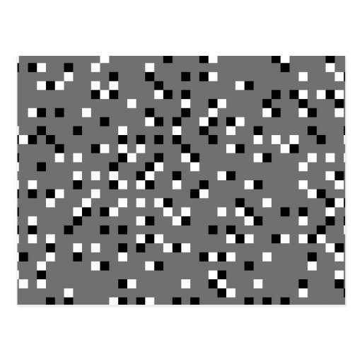 Gray, Black and White Square Dots Pattern. Postcard