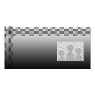Gray Black and White Squares Pattern Photo Card