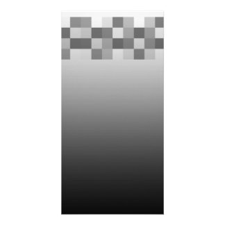 Gray Black and White Squares Pattern Photo Cards