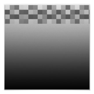 Gray, Black and White Squares Pattern. Print