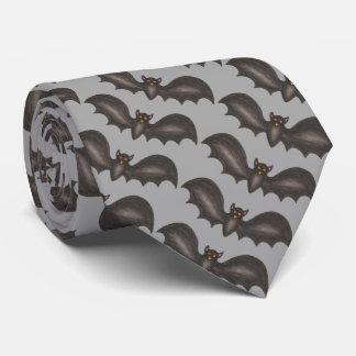 Gray Black Bat Spooky Bats Halloween Tie