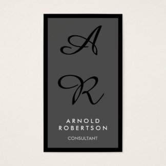 Gray Black Border Unique Monogram Business Card