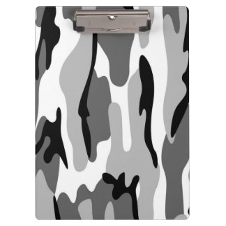 Gray & Black Camouflage Clipboard