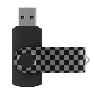 Gray black checkers swivel USB 2.0 flash drive