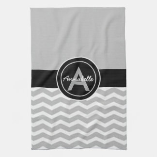 Gray Black Chevron Hand Towel