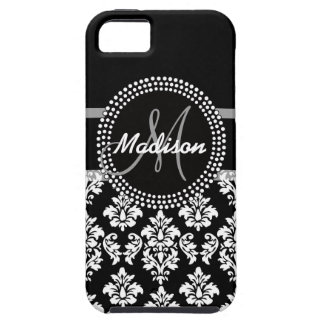 Gray Black Damask with Monogram Tough iPhone 5 Case