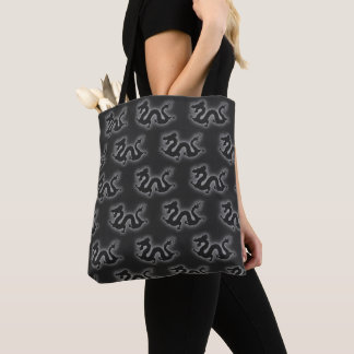 Gray/Black Electric Chinese Dragons Tote Bag