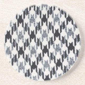 Gray & Black Houndstooth Modern Fabric Texture Coaster